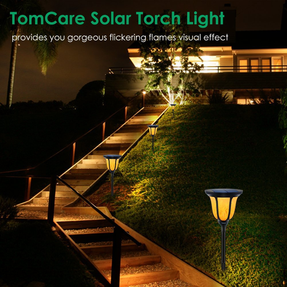 Solar Torches Light Outdoor IP65 Waterproof Flame for Patio Porch Garden Deck Yard (3)