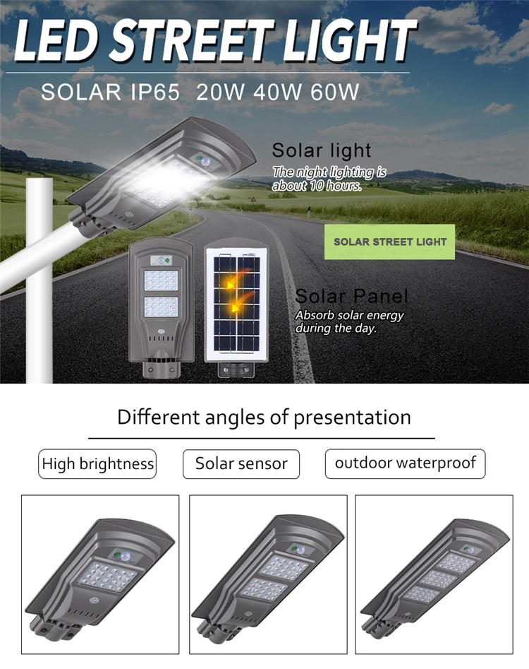 Automatic control IP65 waterproof ABS 20W 40W 60W all in one led solar street light (3)