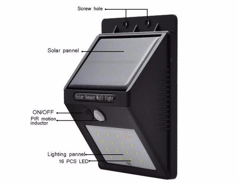 Outdoor Waterproof 20 LED Rechargeable Solar Power PIR Motion Sensor Wall Light for Garden (5)