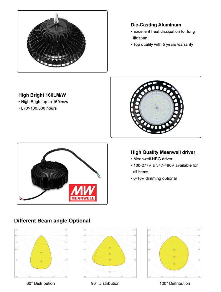 100W 150W 200W UFO LED high bay light IP65 CE SAA led warehouse shed fixture (7)