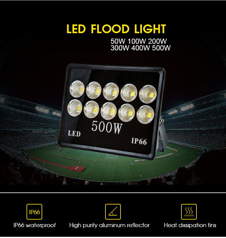 Outdoor IP66 100W 150W 200W 300W 400W 500W LED Floodlight (2)