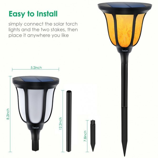 Solar Torches Light Outdoor IP65 Waterproof Flame for Patio Porch Garden Deck Yard (2)