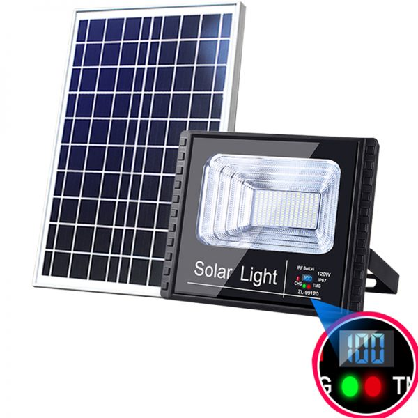 Solar Led Flood Light Outdoor Project With Digital Display Remote Control Light Sensor (2)